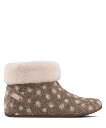 Sarah Shearling taupe dot slippers