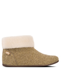 Sarah Shearling gold-tone slippers