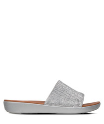 Sola crystalled silver-tone slip-ons