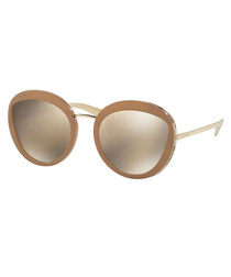 Cream & tan round sunglasses