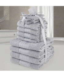 12pc silver-tone pure cotton towel bale