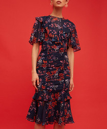 Need You Now navy floral midi dress