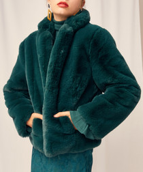 Stay With Me emerald faux fur coat