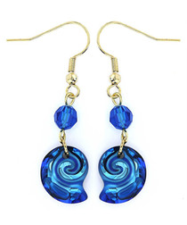 Gold-plated sapphire shell earrings