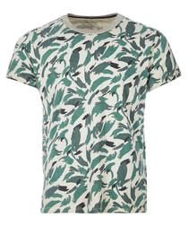Abbasi stone green printed T-shirt