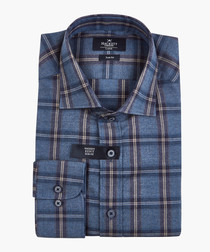 Navy checked button-up shirt