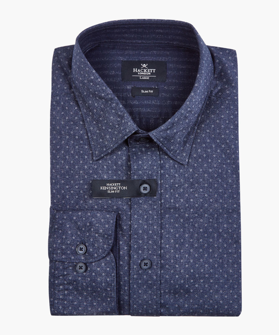 Navy patterned button-up shirt Sale - hackett