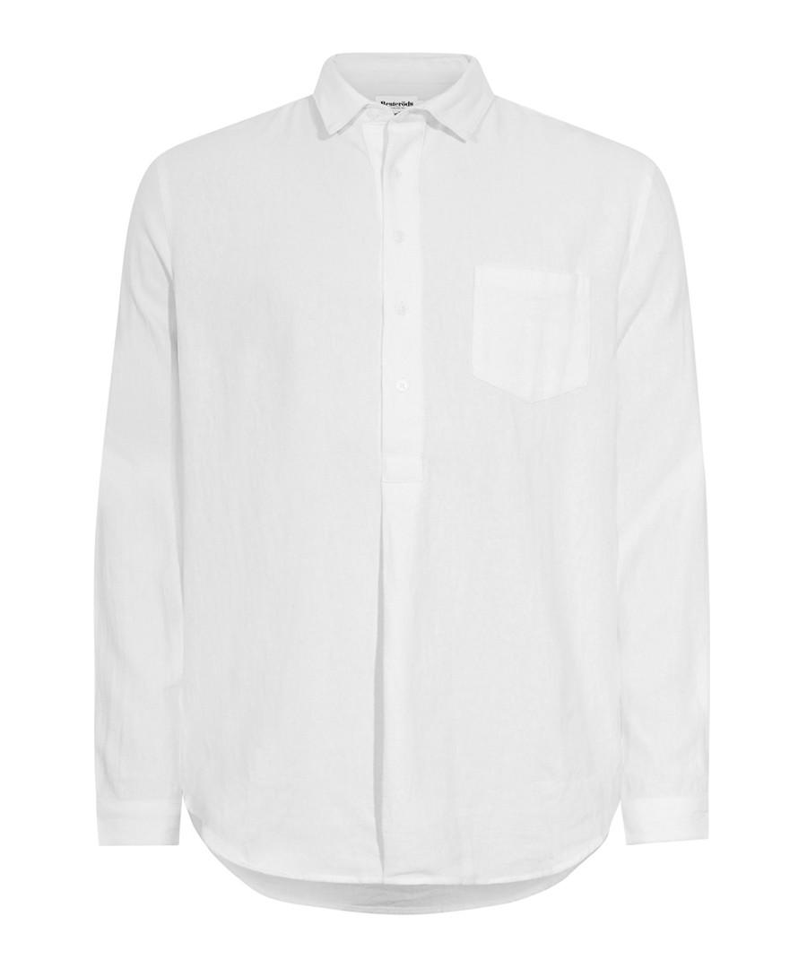 White cotton & linen blend shirt Sale - resterods
