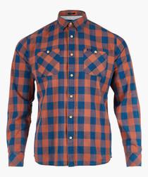 Burnt orange check long sleeve shirt