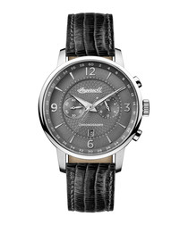 The Grafton black leather watch
