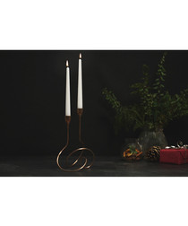 Copper-plated ornate candle holder