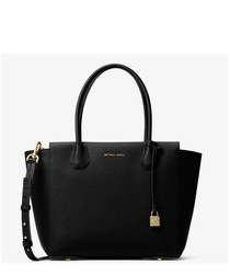Black leather locket detail shopper