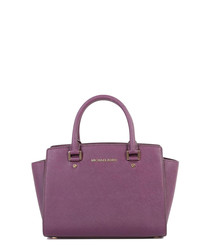 Selma damson leather winged tote