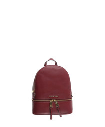 Rhea red leather backpack