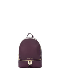 Rhea damson leather backpack