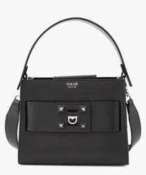 Ludo black leather grab bag
