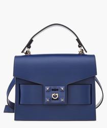 Gigi blue leather grab bag
