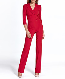 Red double breasted jumpsuit