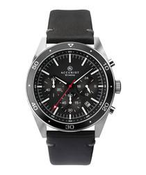 Black leather quartz watch