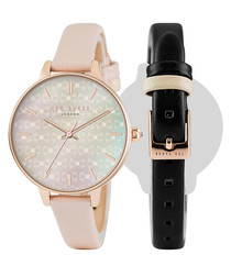 2pc pink & black interchangable watch