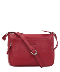 Deep red leather crossbody