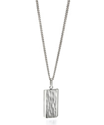 Silver-plated steel textured necklace