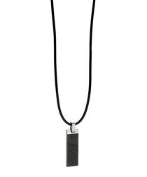 Black steel & leather textured pendant