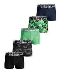 5pc La garden black & green boxers