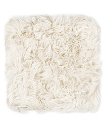 White New Zealand sheepskin chair pad
