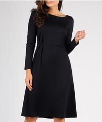 Black streamlined A line dress