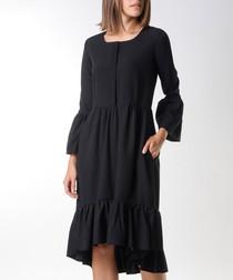 Black ruffle hem bell sleeve dress