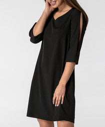 Black slit sleeve V-neck dress