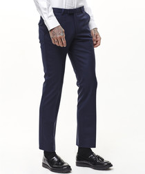 Navy wool blend trousers