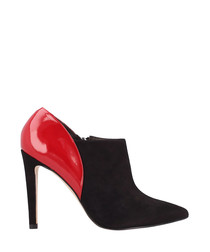Black & red heeled ankle boots