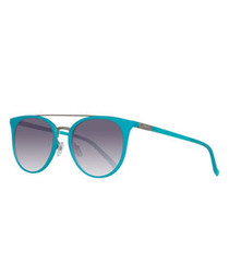 Turquoise grey double-bridge sunglasses
