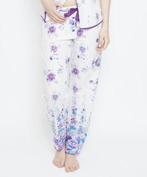 Andrea white floral pyjama trousers