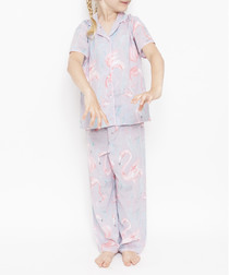 Kids' Zara grey flamingo pyjama set