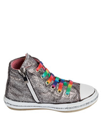Silver-tone rainbow lace-up sneakers