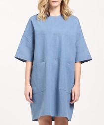 Blue pure cotton oversized mini dress