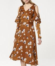 Multi-coloured floral midi dress