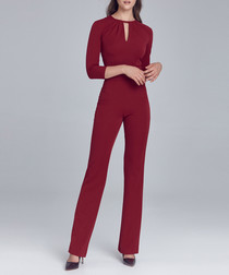 Red key-hole cropped sleeve jumpsuit