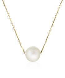 Single pearl yellow gold necklace
