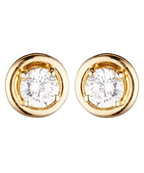 Precious yellow gold zirconium earrings