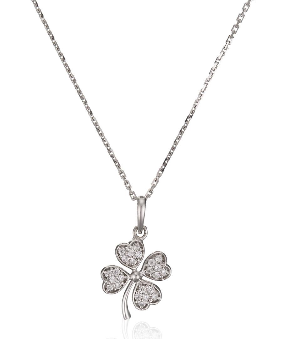 Trèfle white gold & zirconium pendant Sale - or eclat