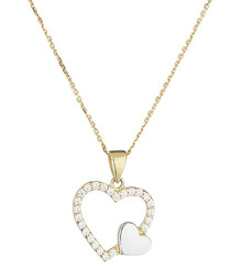 Duo de coeur bi-colour gold pendant