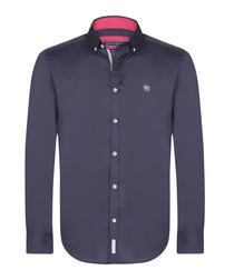 Navy pure cotton button-up shirt