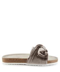 Mink velour bow sandal