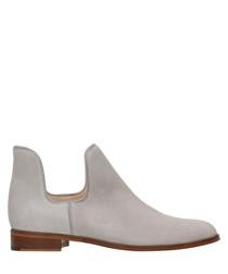 Light grey nubuck cut-out boots
