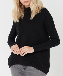Black merino wool blend jumper