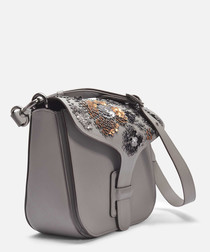 Courier Crossbody Bag in Grey Calfskin